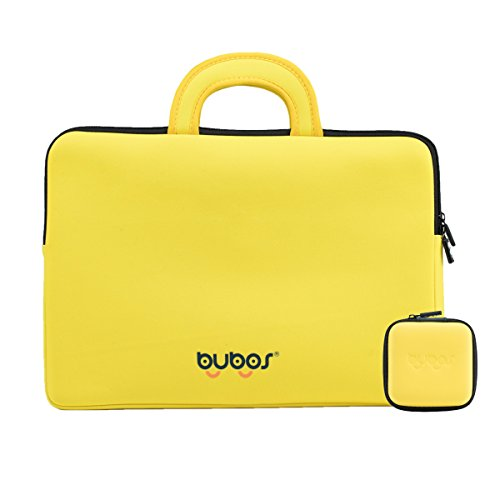 BUBOS Writing Tablet Sleeve Bag for 10 Inch Ipad and 15 Inch New MacBook Pro, Notebook Computer with Small Case for Laptop Computer Charge. (14-15 Inch, Yellow) by BUBOS