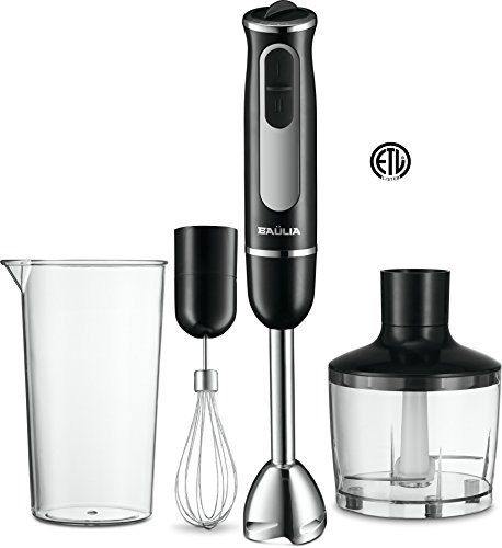 All in One Immersion Hand Blender Set – Includes Wisk, Blending Arm, Fine Chopper Accessory + 600ml Measuring Cup – Stainless Steel Blades – Comfortable Grip – Smart Speed Function – ETL Approved
