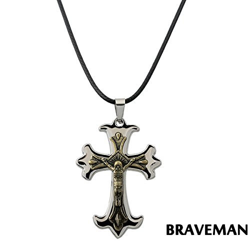 Glucky : Jewelry fashion cross with Jesus pendant man necklace leather rope mennecklace jewelry