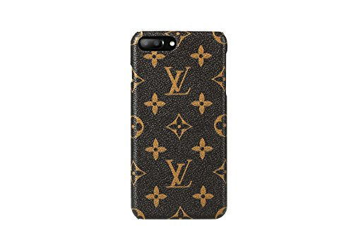 iPhone 7 Plus Case, iPhone 8 Plus Case, New Elegant Luxury PU Leather Monogram Pattern Classic Style Cover Case for Apple iPhone 7 8 Plus (Large Logo) - Style Iphone Phones