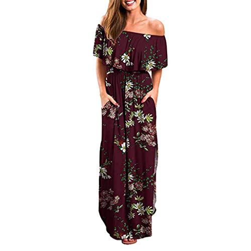 LONGDAY Women Summer Maxi Dress Ruffles Long Dress Floral Print Bohemian Beach Swing Dress Cold Shoulder Side Split Red -