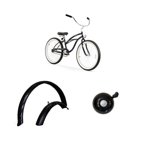 "Firmstrong Urban Lady 24"" 1-Speed Beach Cruiser Bicycle, plus 24"" Fenders, plus Classic Bell, Black, Bundle"