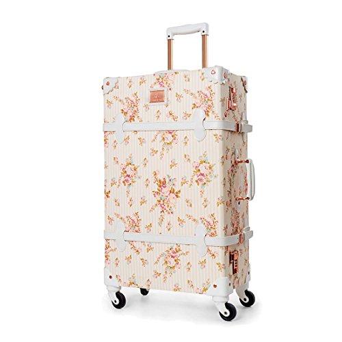 UNIWALKER Travel Floral Suitcases Vintage Cute Luggage for Women (26')