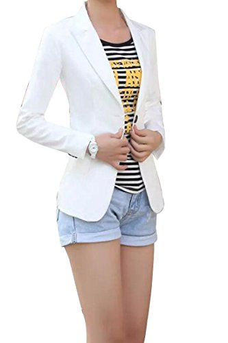 YYG Women Casual Dress Long Sleeve One Button Slim Blazer Jacket White L