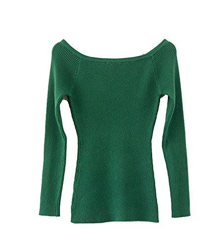 Unie Longue Top Vert Couleur Sweat Fonc Femme Manche Slim Tricots Pull Fit Eq1Szn