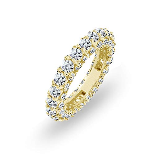 - Yellow Gold Flashed Sterling Silver Cubic Zirconia Round Stackable Eternity Band Ring, Size 6