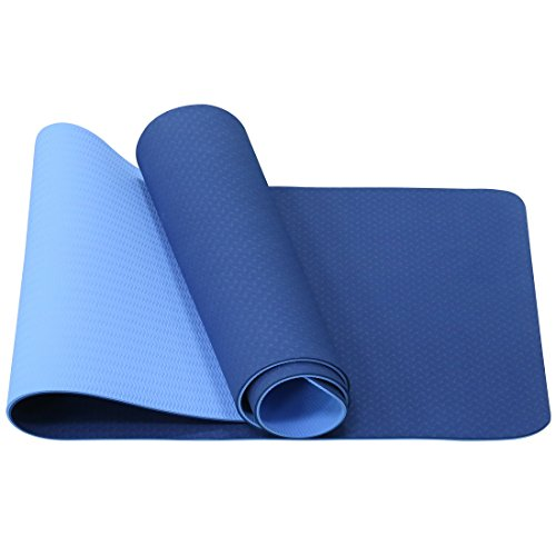 Aisportlife TPE Yoga Mat Double Color Blue+Black Exercise Mat 6mm