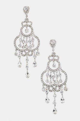 Trendy Fashion Jewelry Crystal Chandelier Earrings By Fashion Destination  (Rhodium/Clear)
