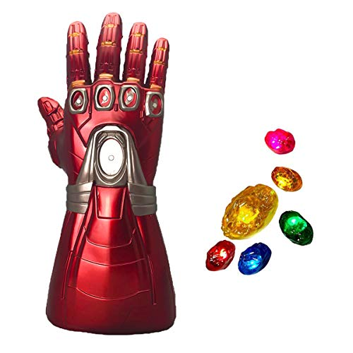 XXF New Iron Man Infinity Gauntlet for Kids, Iron Man Glove LED with Removable Magnet Infinity Stones-3 Flash Mode.