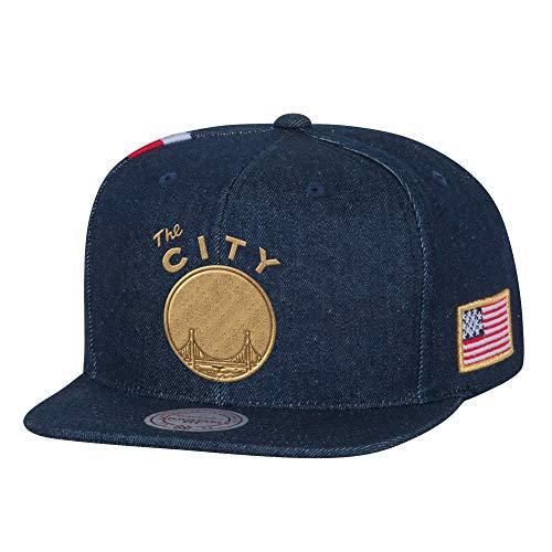 (Golden State Warriors Mitchell & Ness USA Gold Stars & Stripes Denim Snapback)