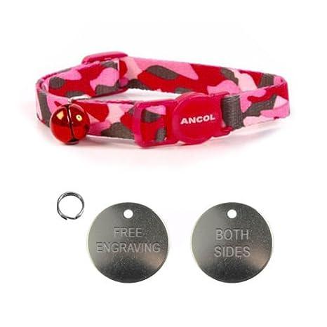 Carlton Trading ANCOL - Collar de camuflaje rosa con grabado de 22 ...