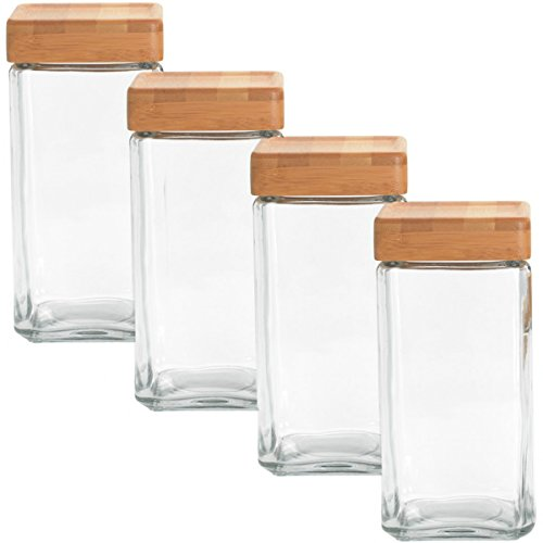 Anchor Hocking 2-Quart Stackable Jars with Bamboo Lids, Set of 4