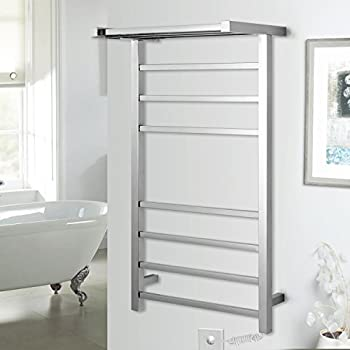 Lightinthebox Radiant Plug-In 70W Towel Warmer Stainless Steel Mirror Polished Drying Wall Mount, Freestanding 950mm Tall Towel Rack Lavatory Home Decor Bath Shower Improvement, Chrome Finish