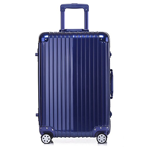 Aluminum Rolling Luggage Spinner Trolley Carry-On Suitcase Blue 20 Inch by Caraya