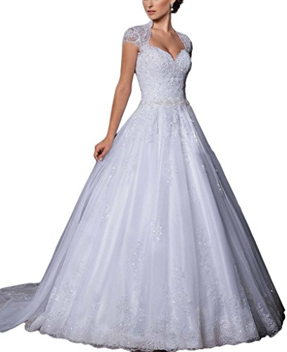 Women's Dress Wedding Gown Open Lace Sweetheart Long Sleeve Back Ivory Cap DZdress aw4fqq