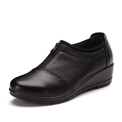Zapatos de mamá/Mitad inferior suave y zapatos de las mujeres de edad/Zapatos viejos cabeza de cierre/Zapatos de mujer oscura A