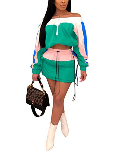 Women Two Piece Skirt Set Color Block Off Shoulder Pullover Tops and Mini Skirt Tracksuit Green L