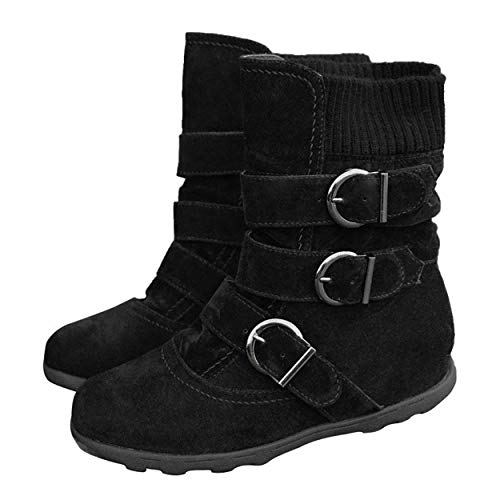 Susanny Ankle Boots for Women Warm Winter Zip Suede Booties Buckle Strappy Shoes Round Toe Black 7.5 B (M) US