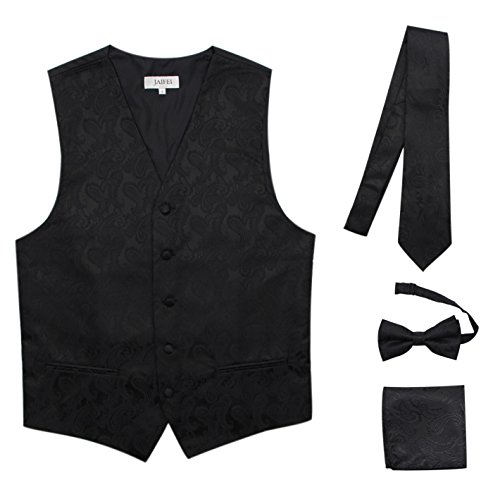 JAIFEI Premium Men's 4-Piece Paisley Vest For Sleek Looks On Formal Occasions (M (Chest 39), Black) (Tuxedo Vests Shirts)