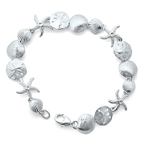 Handmade Solid Sterling Silver Seashell Link Bracelet (7 Inches)