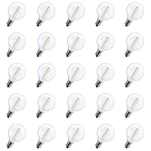 25-Pack Shatterproof LED G40 Replacement Bulbs, E12 Screw Base LED Globe Light Bulbs for Patio String Lights, Equivalent to 5-Watt Clear Light Bulbs (Replacement Led Bulbs)