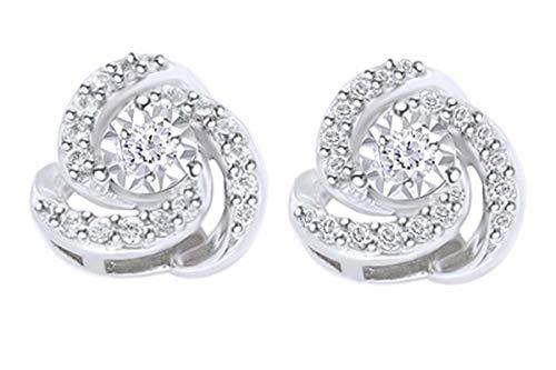 1/4 Carat Round Cut Diamond Love Knot Stud Earrings 10K White Gold (0.25 Cttw)