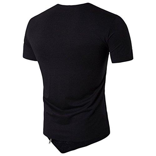 Noir T Courtes Malloom Manches Hedging Coton shirt Hommes Fit Chemisier Slim Irrégulier qPCPwUg