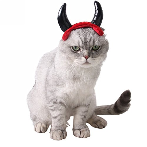 Devil Costume For Small Dogs (ZTL Devil Horns Hat Headband Halloween Pet Costume Accessories for Small Dogs Cats)