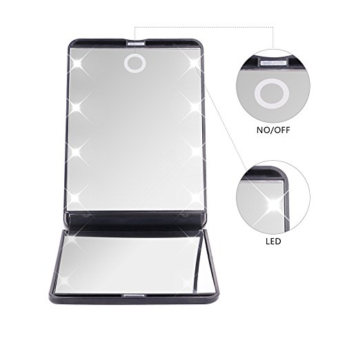 Pocket Makeup Mirror With LED Light (Black) - 2