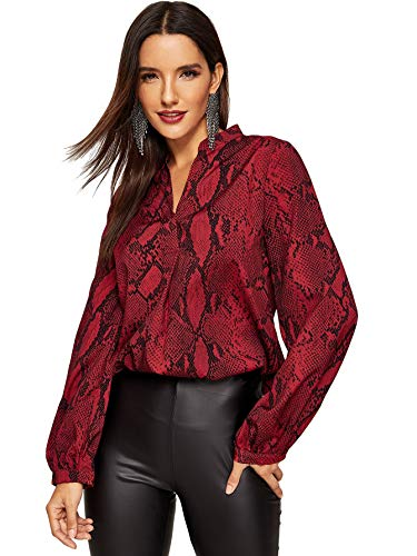 (WDIRARA Women's Casual V Neck Snake Skin Print Long Sleeve Pullover Blouses Tops Red L)