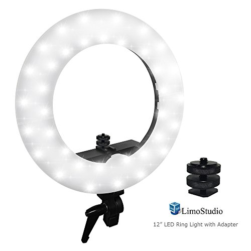 LimoStudio LED Ring Light 5600K Dimmable, 1/4 Screw Nut C...