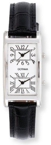 Gotham Unisex Silver-Tone Dual Time Zone Leather Strap Watch # GWC15090SW