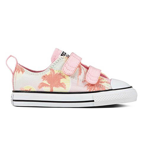 Converse Ctas 2v OX Barely Green/Cherry Blossom, Zapatillas Unisex Niños Mehrfarbig (Barely Green/Cherry Blossom/White)
