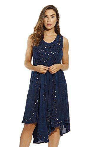 Blu Embroidered Shorts - Riviera Sun 21660-BLU-2X Dress/Dresses for Women Blue