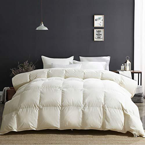 Apsmile Luxury All Season Goose Down Comforter Full Queen Size Duvet Insert 100 Natural Cotton Hypoallergenic Medium Warmth Beige White