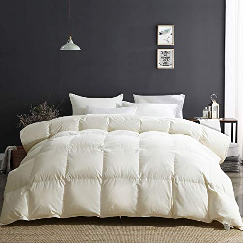 APSMILE Luxury 100% Original Cotton All Season Goose Down Comforter King Size Hypoallergenic Medium Warmth Duvet Insert, Beige White
