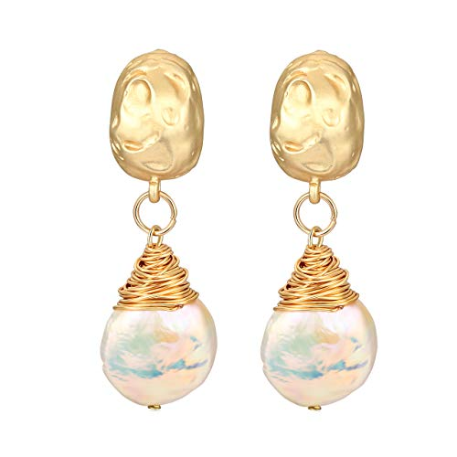 TIKCOOL Pearls Drop Earrings Wire Wrapped Earrings Gold Cultured Freshwater Pearl Stud Earrings (Gold)