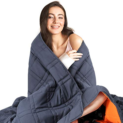 Cheap LANGRIA Reversible Weighted Blanket (12 lbs 48 x72 ) - Cool Heavy Blanket for Calm Sleeping for Adults - Breathable Microfiber Fabric with Small Pockets for Odorless Glass Beads (Blue & Orange) Black Friday & Cyber Monday 2019