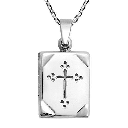 Bible Locket Pendant - AeraVida Elegant Holy Bible Box Locket .925 Sterling Silver Pendant Necklace