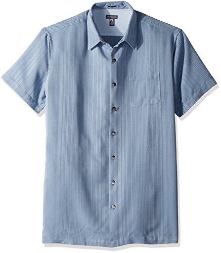 - Van Heusen Men's Size Slim Fit Air Short Sleeve Button Down Stripe Poly Rayon Shirt, Blue Jeans, X-Large Tall