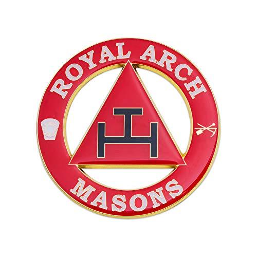 Royal Arch Round Red Masonic Auto Emblem - 3