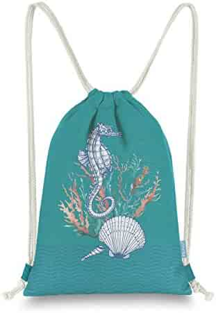 8794afe2e Miomao Drawstring Backpack Gym Sack Pack Marine Style Cinch Sack Canvas  Seahorse Sinch Sack Sport String