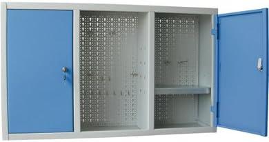 Armario para herramientas, de chapa, con 2puertas, de color azul. Fondo hecho con panel perforado para tener la posibilidad de colgar equipos y herramientas de trabajo.