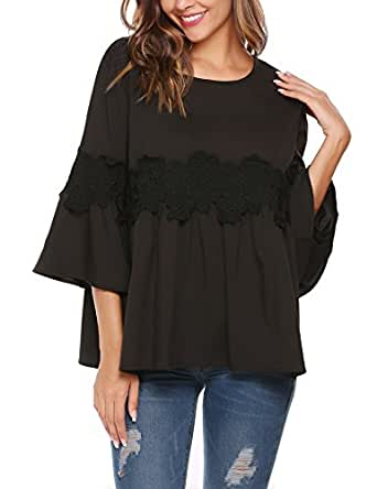 Soteer Lace Tops, Women Casual O-Neck 3/4 Sleeve Floral Lace Blouse Tops(Black S)