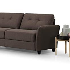 Farmhouse Living Room Furniture ZINUS Ricardo Sofa Couch / Tufted Cushions / Easy, Tool-Free Assembly, Chestnut Brown farmhouse sofas and couches