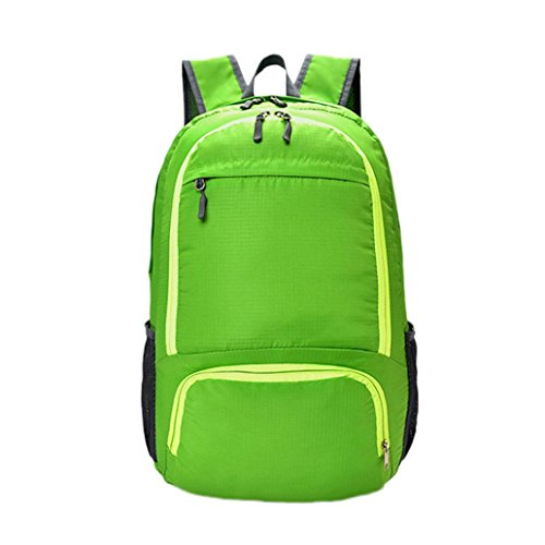 YJYdada Neutral Solid Color Fold Backapck Zipper Waterproof Nylon Trvel School Rucksack (Green) (Sb Supreme)