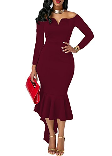 Women Cocktail Party Dress Wine Red - 7