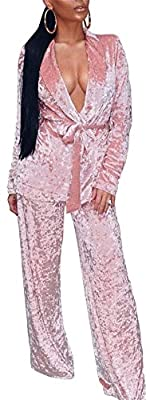 Vamvie Womens Casual Long Sleeves and Pants Pajamas with Belt 2 Piece Jammie Club Jumpsuit