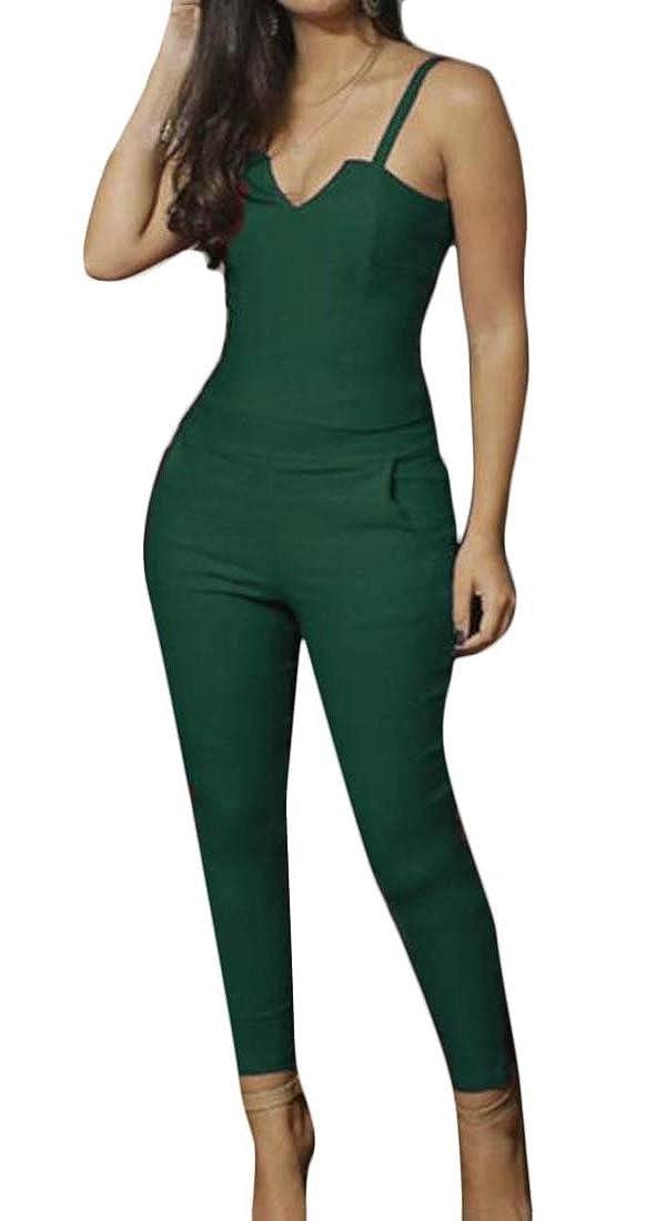 Sweatwater Women Sleeveless V Neck Elegant Backless Bodysuit Jumpsuits