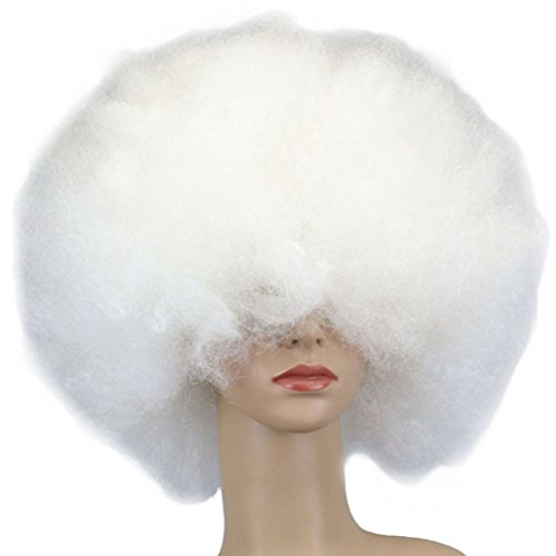 Tinksky Clown Wig Short Afro Wig Halloween Costume Wig (White) - White Afro Wig